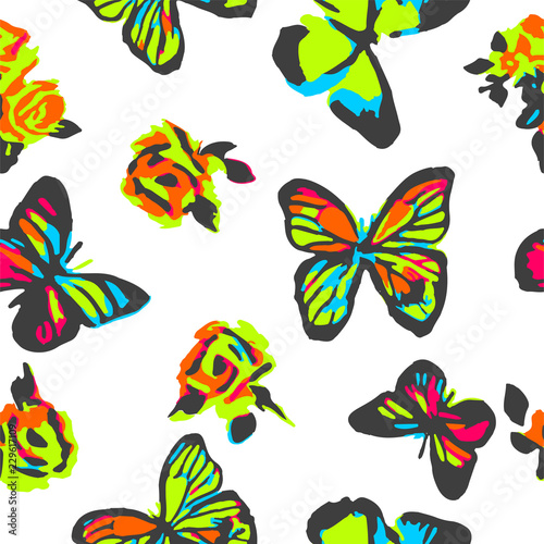 Foto op Aluminium Vlinders in Grunge Butterflies seamless pattern for girls with colorful insects and rosses. Girlish print with neon butterfly