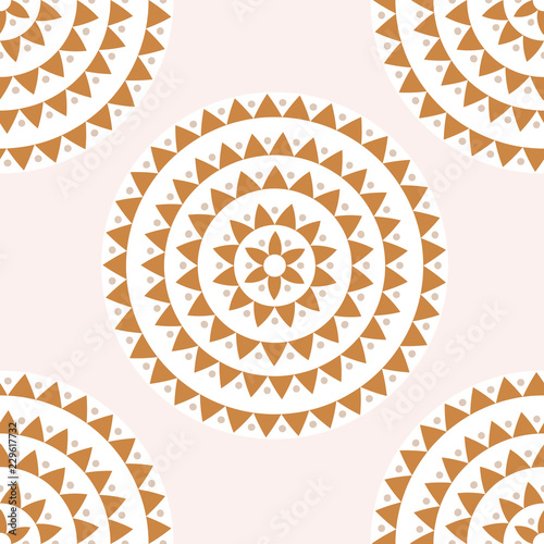Photo  Ethnic mandala seamless pattern with circles, dots, triangles