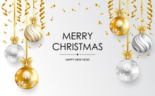 Merry Christmas And Happy New Year Card With Balls And Serpentine. Vector Illustration.