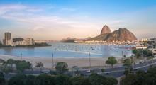 Aerial View Of Botafogo, Guanabara Bay And Sugar Loaf Mountain At Sunset - Rio De Janeiro, Brazil
