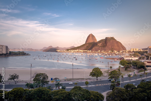 Aerial view of Botafogo, Guanabara Bay and Sugar Loaf Mountain at sunset - Rio de Janeiro, Brazil