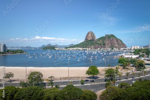 Aerial view of Botafogo, Guanabara Bay and Sugar Loaf Mountain - Rio de Janeiro, Brazil