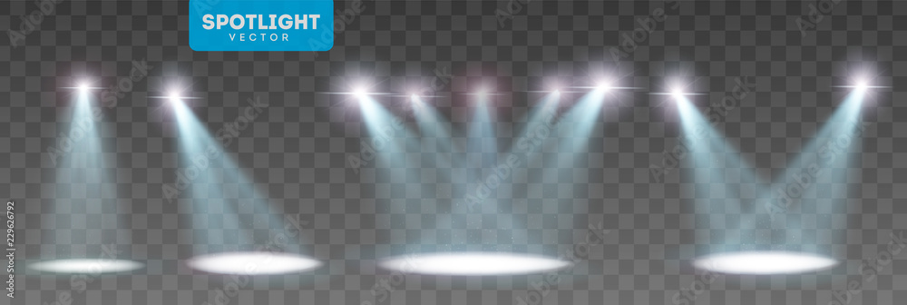 Fototapety, obrazy: Scene illumination big collection, transparent effects. Bright lighting with spotlights. Vector Illustration