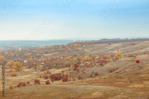 Deurstickers Pool Bright and warm landscapes in the autumn. Hills, fields and trees