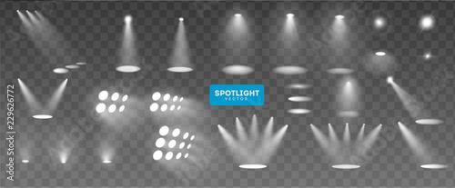 Obraz Scene illumination big collection, transparent effects. Bright lighting with spotlights. Vector Illustration - fototapety do salonu
