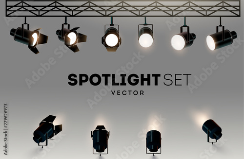 Photo  Spotlights realistic transparent background for show contest or interview vector