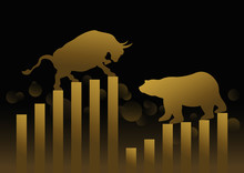 Stock Market Concept Design Of Gold Bull And Bear With Graph And Chart Vector Illustration