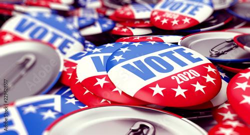 Fényképezés vote election badge button for 2020 background, vote USA 2020, 3D illustration,