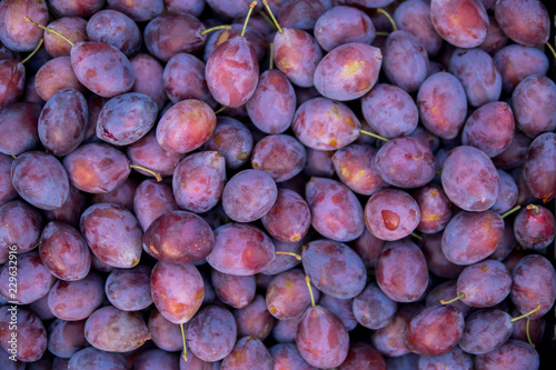 top view of damson plums