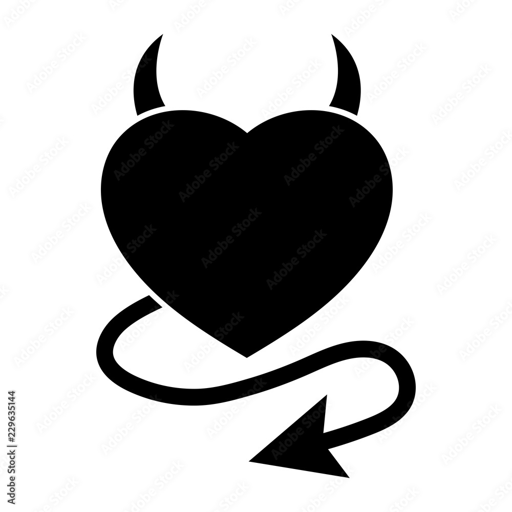 Fototapeta Simple devil heart icon. Heart with horns and a tail. Black silhouette. Isolated on white