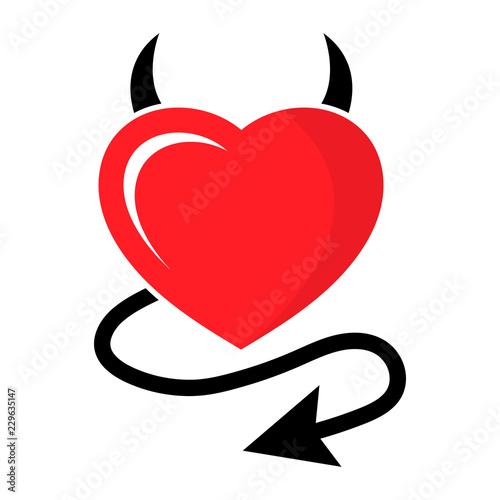 Tableau sur Toile Simple, flat devil heart icon