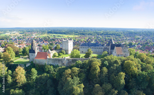 Spoed Fotobehang Kasteel Aerial view on the Bad Bentheim castle.