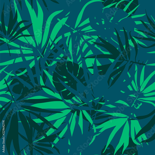 fototapeta na lodówkę Tropical leaves. Seamless texture with palm tree leaf and monstera leaves . Vector pattern.