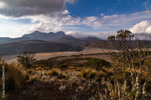 In de dag Diepbruine Andean landscape at sunset