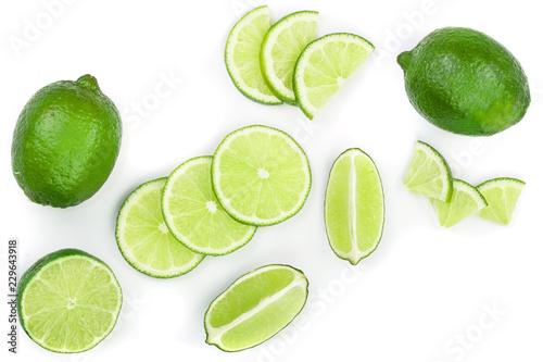 sliced lime isolated on white background Fototapeta
