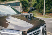 Camera Gimbal On The Car Steadicam Keeps On Suckers On The Auto Car
