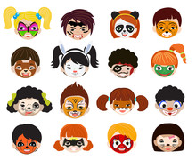 Face Paint Kids Vector Childre...