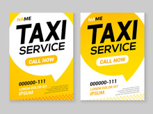 Taxi Service Layout Template Background. Automobile Taxi Service Design Concept Flyer Or Poster