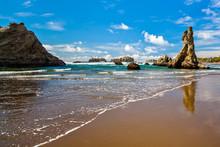 Bandon Beach On A Beautiful Sunny Day, Oregon, USA