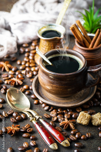 Wall Murals Cafe Black coffee in a composition with kitchen accessories