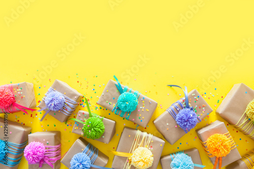 Colored Gift Boxes With Colorful Ribbons And Pompon Yellow