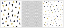 Cute Hand Drawn Abstract Geometric Vector Patterns. White Background. Blue, Black, Gold And Gray Triangles And Dots. Black Chevron. Irregular Infantile Style Design.