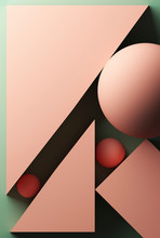 Green Background With Pink Geometric Shapes