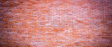 Wide Panorama Brick Wall Of Re...