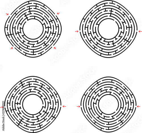 Black abstract round maze with a place for your drawing  Set