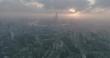 SHANGHAI, CHINA - Sep 19: Aerial View of Shanghai at dawn, on 19 Sep,2017 in Shanghai, China. D-log profile