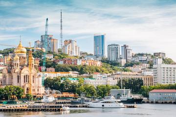 Vladivostok city and Golden horn bay in Russia