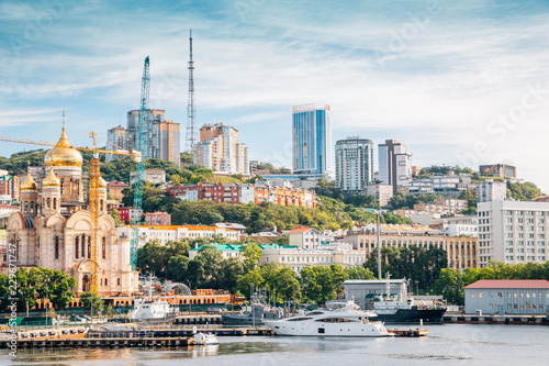Photo  Vladivostok city and Golden horn bay in Russia