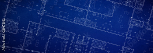 Panoramic architecture Floor plan background blueprint style abstrac