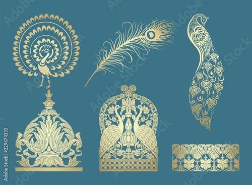 peacock motif designs, textile , Rajasthan, royal India Canvas-taulu