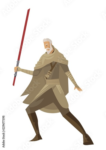 old knight with laser sword Poster Mural XXL