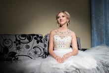 Beautiful Blonde Bride Waiting Her Groom In Wedding Day