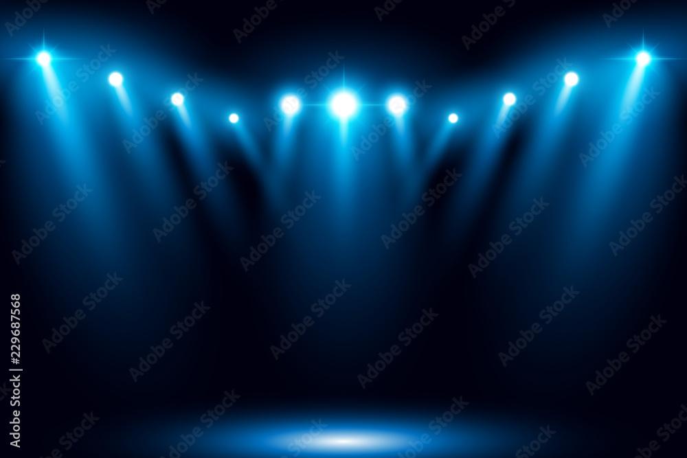 Fototapety, obrazy: Bright stadium arena blue lighting spotlight vector illustration