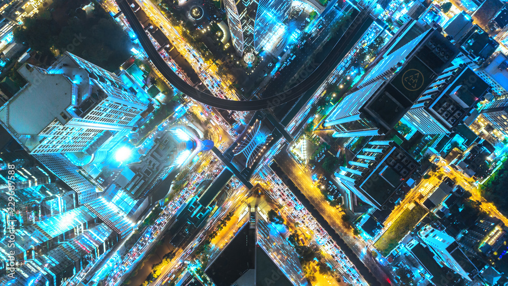 Fototapety, obrazy: Aerial view traffic road at night in downtown for transportation or traffic background.