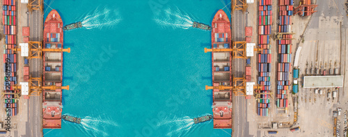 Fotografia, Obraz  Aerial view Tug boats drag container ship to sea port and working crane bridge loading container for import  export or transportation concept background