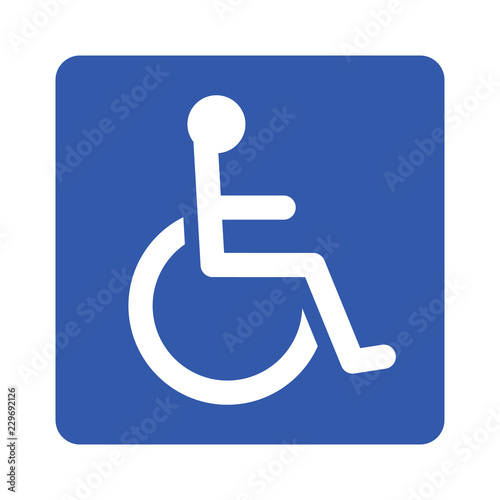 Photo Wheelchair, handicapped or accessibility parking or access sign flat blue vector