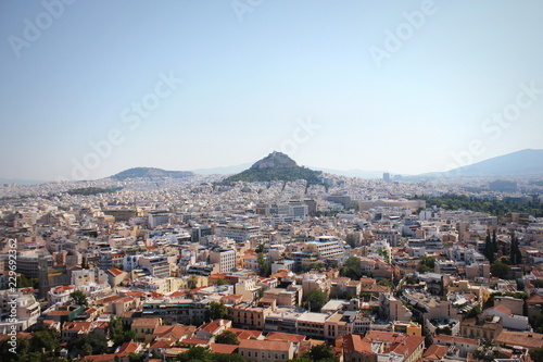Recess Fitting Athens View over the city and the Lycabettus hill from Acropolis in Athens, Greece. Panorama of Athens . Beautiful cityscape with seashore