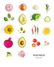 Creative Layout Made Of Avocado, Tomato, Onion, Beetroot, Pepper, Artichoke, Broccoli And Cucumber On The White Background.. Flat Lay. Food Concept.