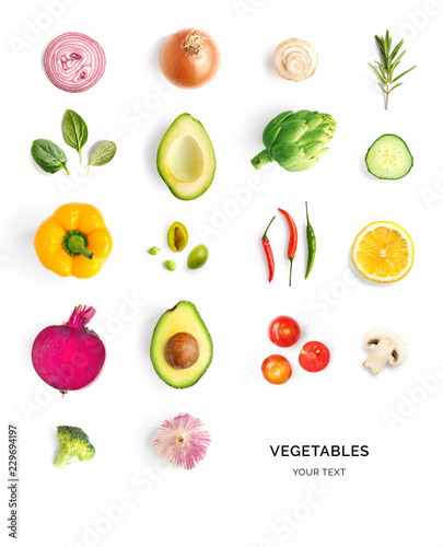 Cuisine Creative layout made of avocado, tomato, onion, beetroot, pepper, artichoke, broccoli and cucumber on the white background.. Flat lay. Food concept.