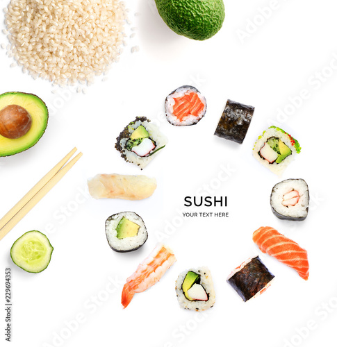 Creative layout made of sushi. Food abstract background. Sushi on the white background.