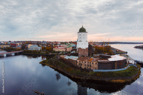 Vyborg, top view of the city and the fortress with Olaf tower Wallpaper Mural
