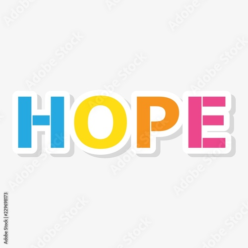 Photo  HOPE color vector letters sticker