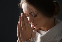 Beautiful Young Woman Praying ...