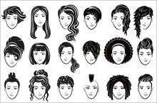 Female Hairstyle Icons Set. Ad...
