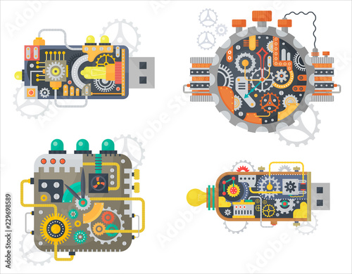 Steampunk vector vintage clock watches face and usb flash drive with cogs and gears isolated Fototapeta