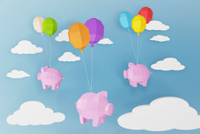 Happy New Year 2019, Pig And Balloons With Cloud, Paper Cut Art And Craft Style On A Blue Background, Create Your Own Personalized Greeting Cards For Any Special Occasions, 3D Rendering Design.